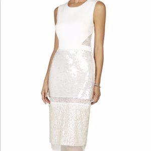 BCBGMaxAzria White Sequined Dress Sz 4